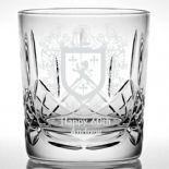 Family Crest Whisky Glass, Personalised coat of arms ref WFCW